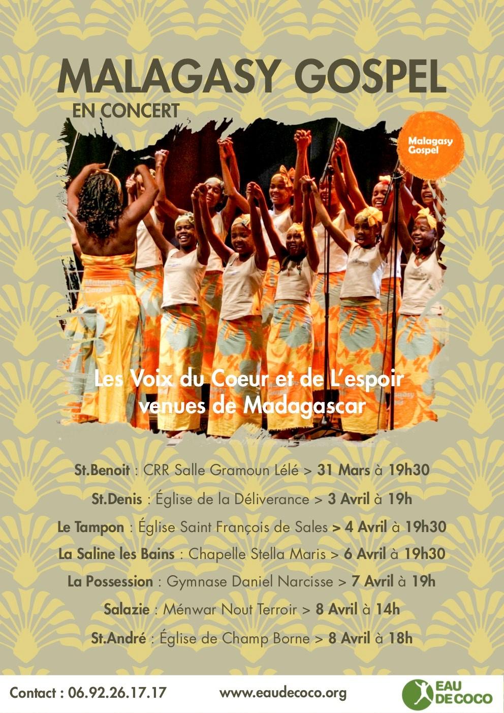 La Malagasy Gospel en concert pour la Réunion du 28 mars au 11 avril 2018
